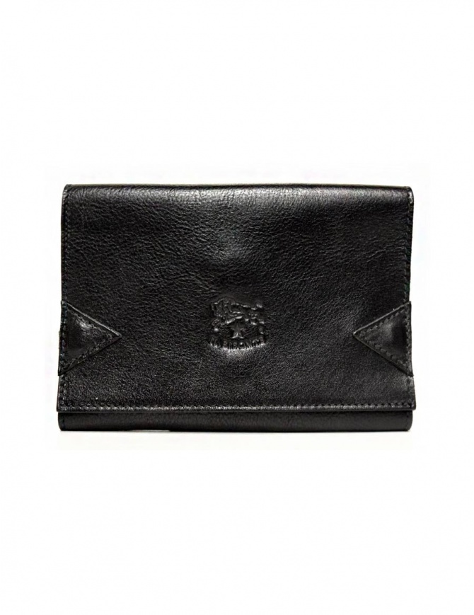 Il Bisonte black leather wallet with elastic band closure C0237-P-153 wallets online shopping