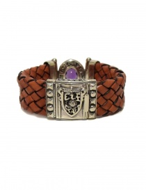Elfcraft Oval Pyramides silver and leather bracelet buy online