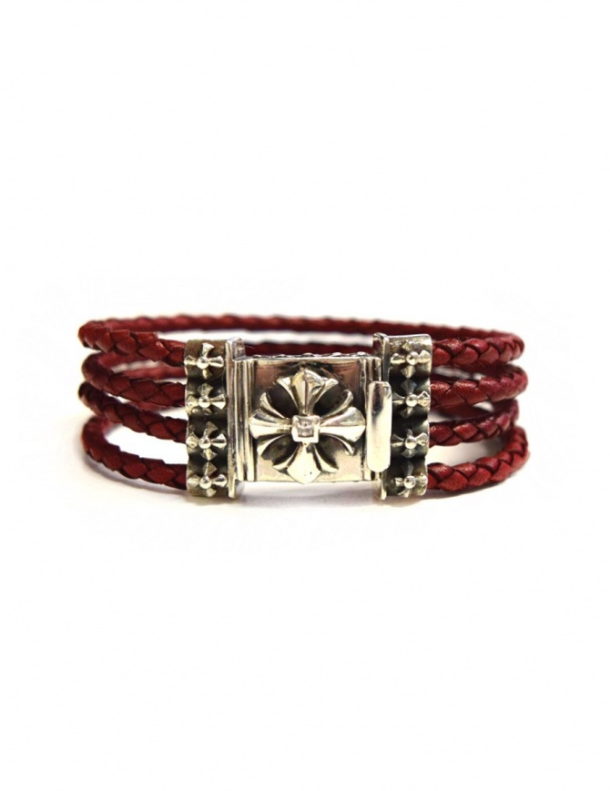 Elfcraft Sprouts Star silver and leather bracelet 225-032-QUAD4 jewels online shopping