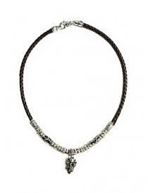 Collana Elfcraft Crowned Skull in argento e pelle 548-11-399
