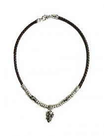 Jewels online: Elfcraft Crowned Skull silver and leather necklace