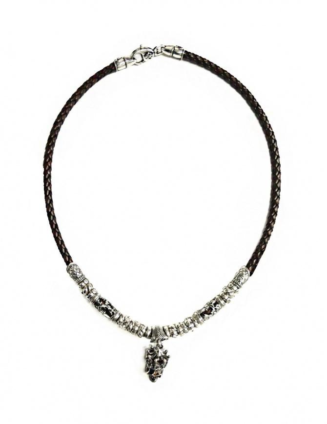 Collana Elfcraft Crowned Skull in argento e pelle 548-11-399 preziosi online shopping