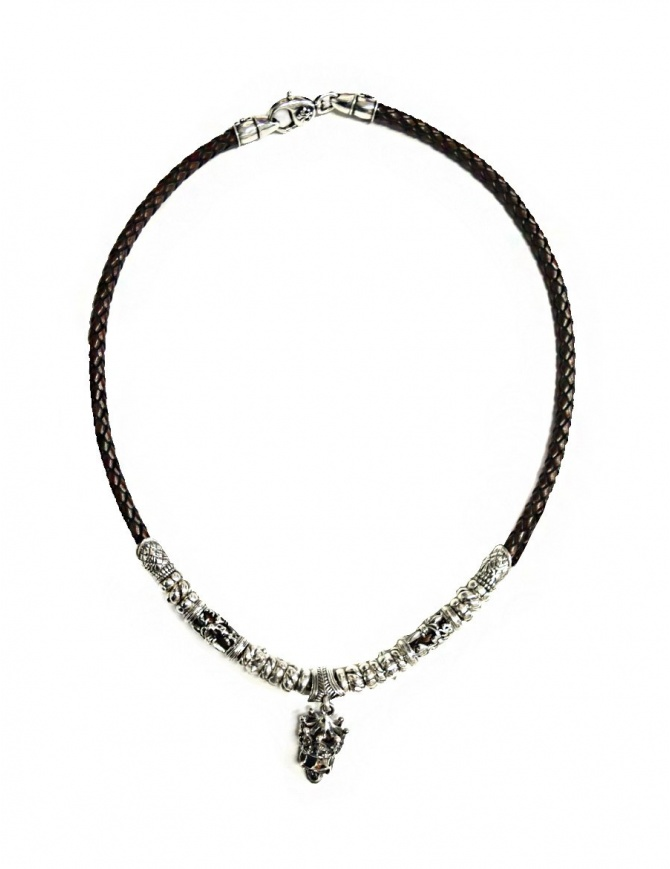 Elfcraft Crowned Skull silver and leather necklace 548-11-399 jewels online shopping