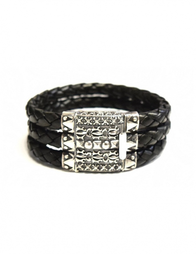 Elfcraft Pyramides silver and leather bracelet 225-357-TRI6 jewels online shopping