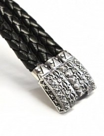 Elfcraft Pyramides silver and leather bracelet