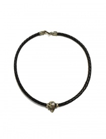 Jewels online: Elfcraft Pendant skull black leather and silver necklace