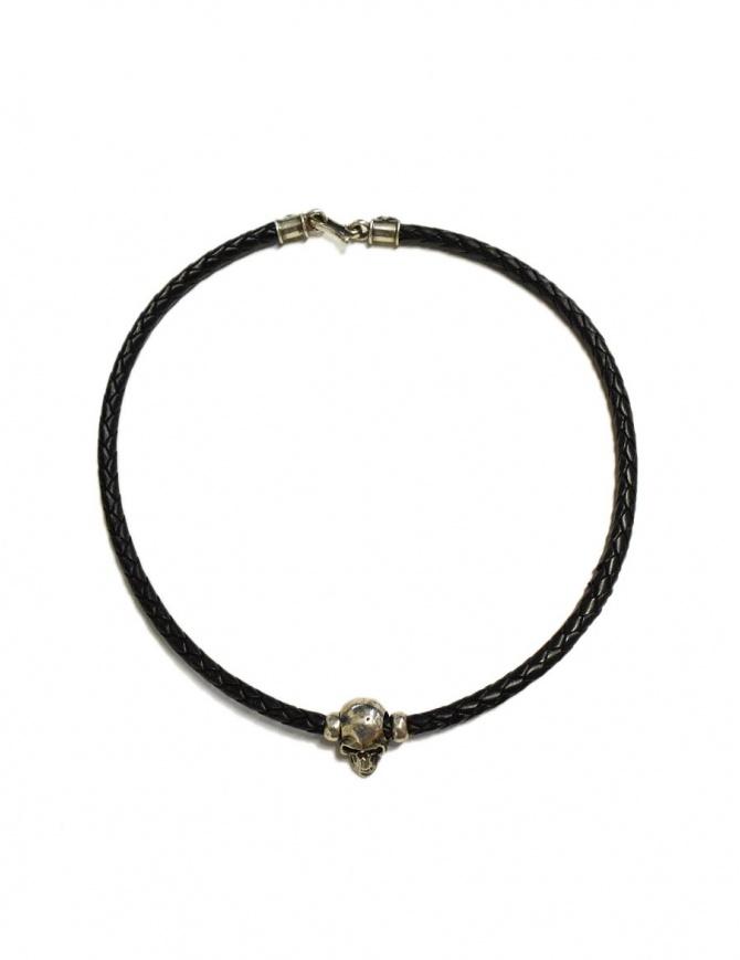 Collana Elf Craft Pendant skull in pelle nera e argento 506-00-NECKLACE+514-099-28HOLE preziosi online shopping