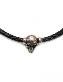 Collana Elf Craft Pendant skull in pelle nera e argento prezzo
