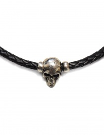 Elfcraft Pendant skull black leather and silver necklace price