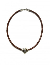 Elfcraft Pendant skull brown leather and silver necklace 546-00-S-NECKBAND+514-099-28HOLE