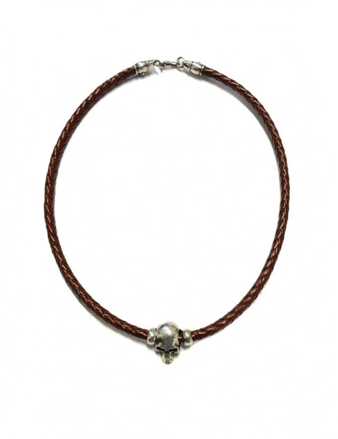Elfcraft Pendant skull brown leather and silver necklace 546-00-S-NECKBAND+514-099-28HOLE jewels online shopping