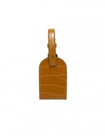 Tardini ochre satin alligator leather luggage tag