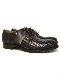 Shoto dark brown braided leather shoes online
