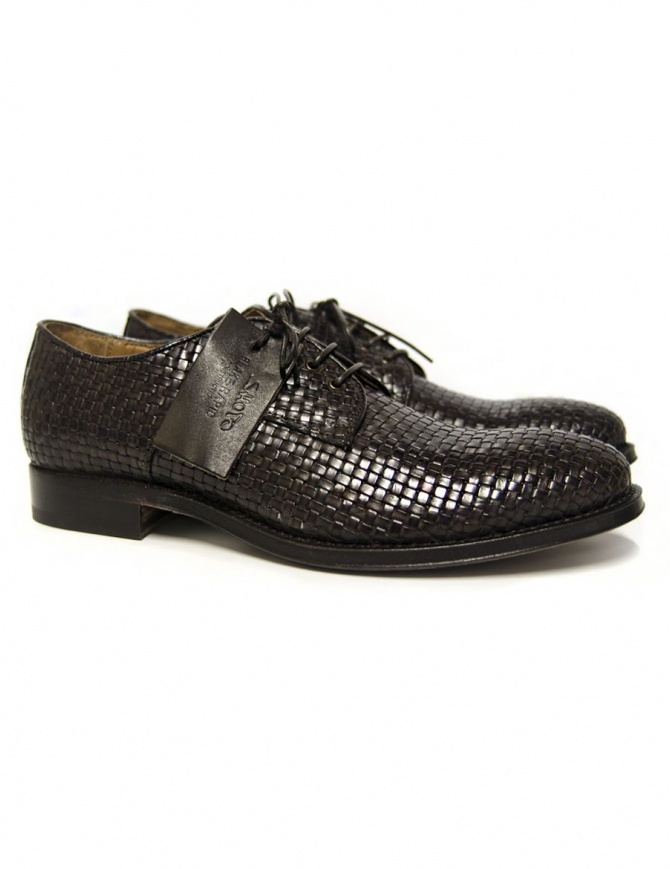 Scarpa Shoto in pelle intrecciata marrone scuro 7587 INTR T MORO calzature uomo online shopping