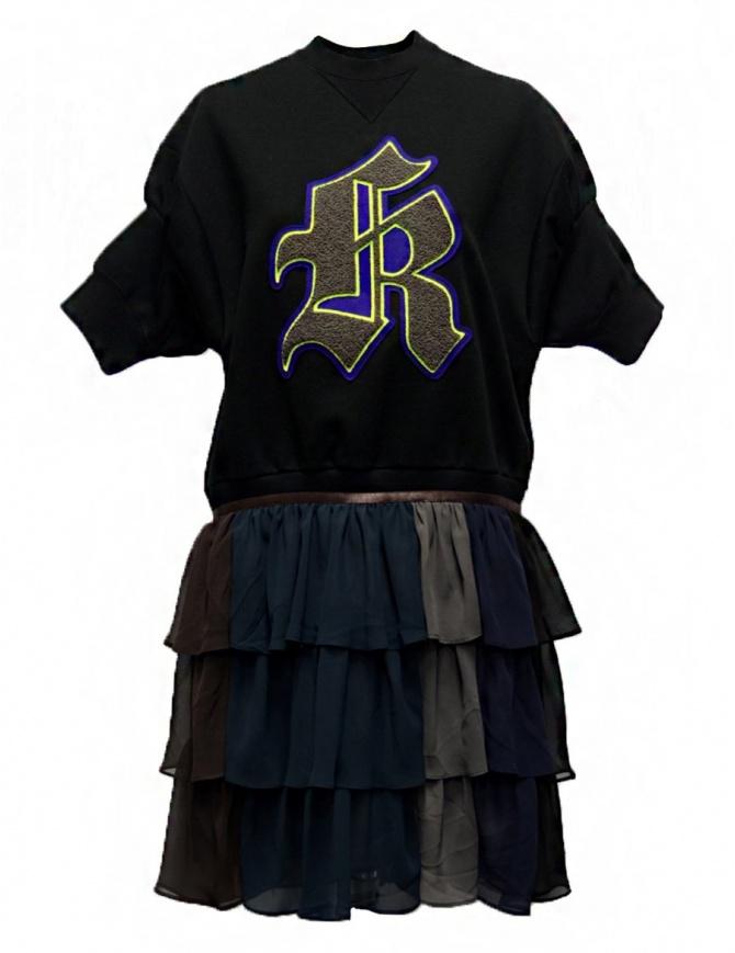 Kolor black fleece dress with K embrodery 18SPL-O04222 BLACK womens dresses online shopping