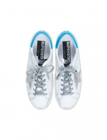 Golden Goose Superstar sneaker in white and ice blue mens shoes buy online