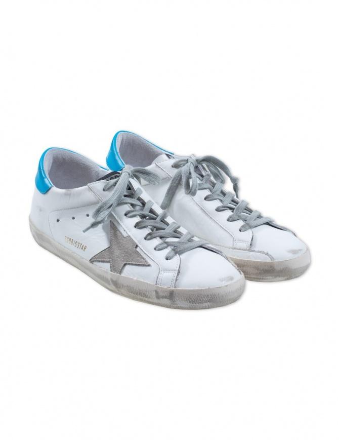 Sneaker Golden Goose Superstar colore bianco e blu ghiaccio G32WS590.E84 WHITE BLUE calzature uomo online shopping