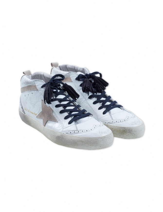 Sneaker Golden Goose Mid Star Rose Edt G32MS634.TEX WHITE calzature uomo online shopping