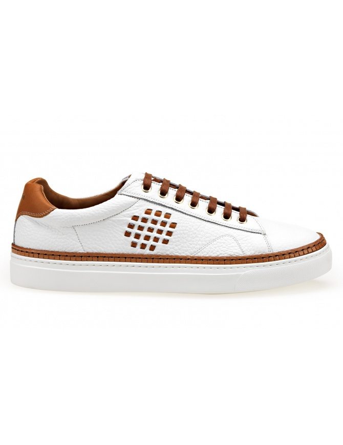 BePositive Anniversary white and camel sneakers (man) 8SARIA01-TUM-WHITE mens shoes online shopping