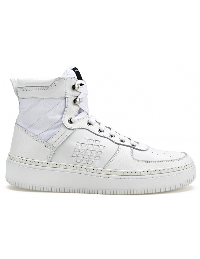 BePositive High Full White Sneakers (man) 8SSUONO01-LEA-WHI mens shoes online shopping