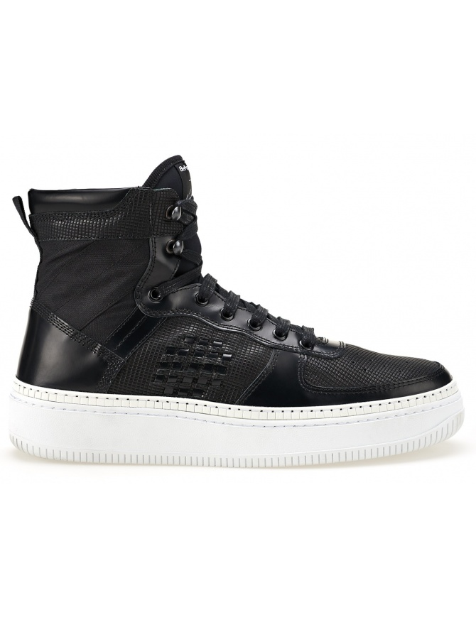 BePositive High Black Sneakers with White Sole (man) 8SSUONO01-LEA-BLK-WHI mens shoes online shopping
