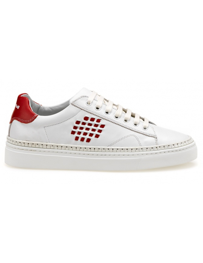 BePositive white Sneakers Anniversary with red details (woman) 8SWOARIA01-LEA-WHI-RED womens shoes online shopping