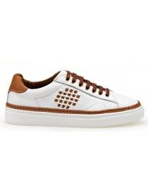 Calzature donna online: Sneaker BePositive Anniversary colore bianco e cammello (donna)