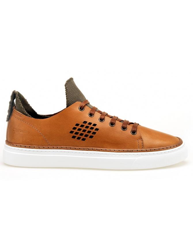 BePositive Sneakers camel Ambassador model with inside olive sock 8SARIA08-LEA-COG mens shoes online shopping