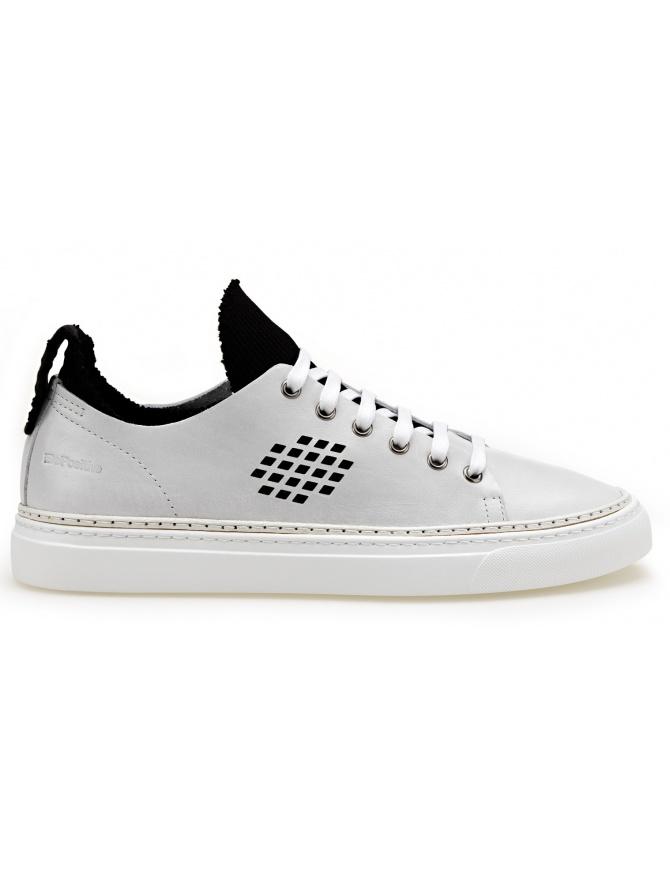 BePositive Sneakers white Ambassador model with inside black sock 8SARIA08-LEA-WHITE mens shoes online shopping