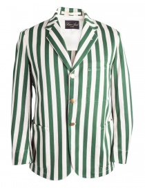 Mens suit jackets online: White and green striped Haversack jacket