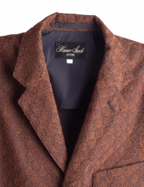 Brown Haversack Jacket with embossed diamond pattern price