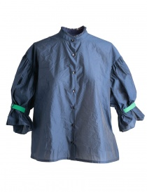 Womens shirts online: Blue Kolor Shirt with green band