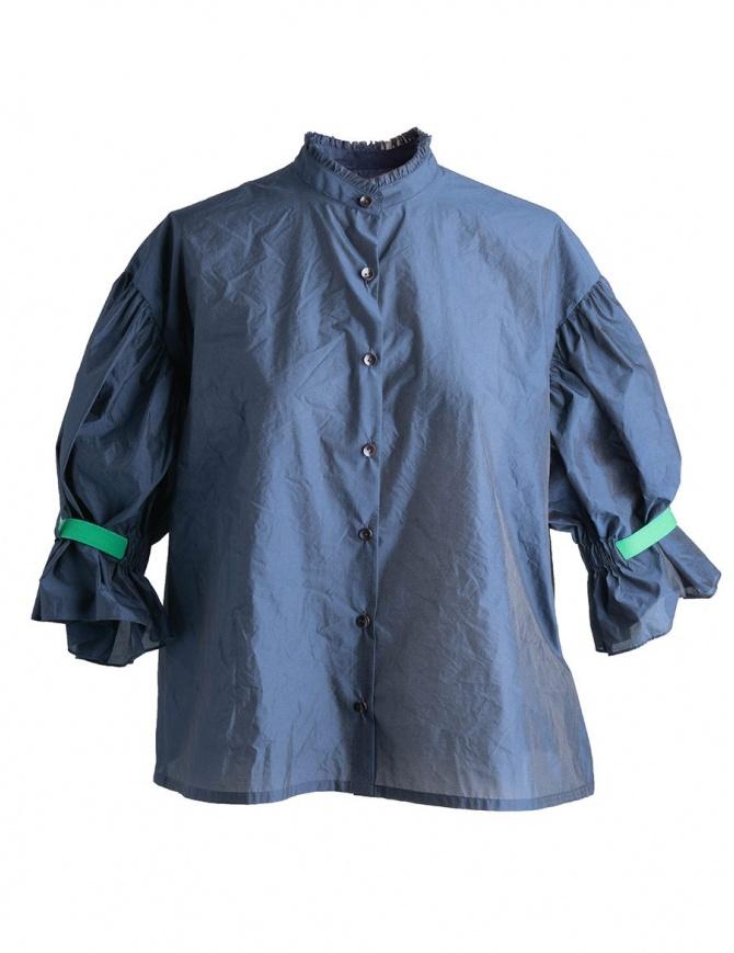 Camicia Blu Kolor con banda verde 18SCL-B06134 B-NAVY camicie donna online shopping