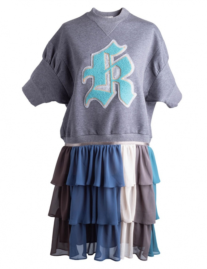 Kolor fleece gray dress with embroidered K 18SPL-O04222 GRAY womens dresses online shopping