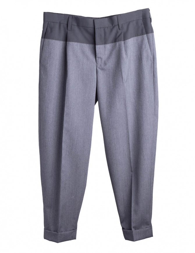 Gray Kolor Pleated-Front Trousers 18SCM-P18110 CHACOAL mens trousers online shopping