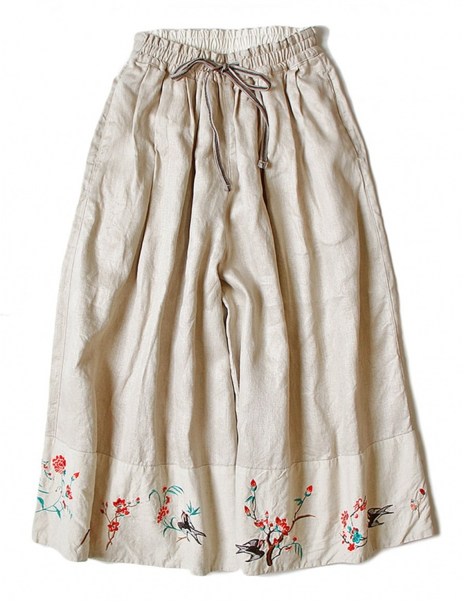 Pantalone Kapital ricamata colore beige K1706LP293-SKIRT-BEIGE pantaloni donna online shopping