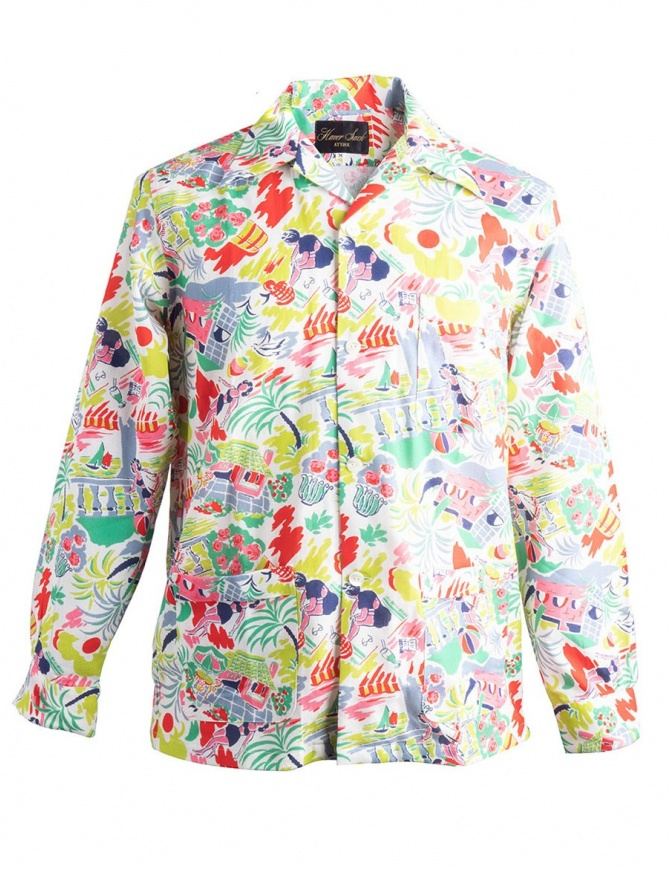Patterned Haversack shirt with beach drawings 821806A/20A mens shirts online shopping