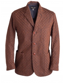 Mens suit jackets online: Brown Haversack Jacket with embossed diamond pattern