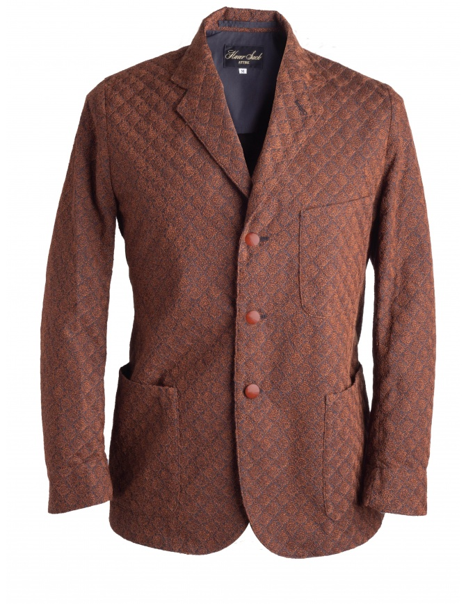 Brown Haversack Jacket with embossed diamond pattern 871808/34 JACKET mens suit jackets online shopping