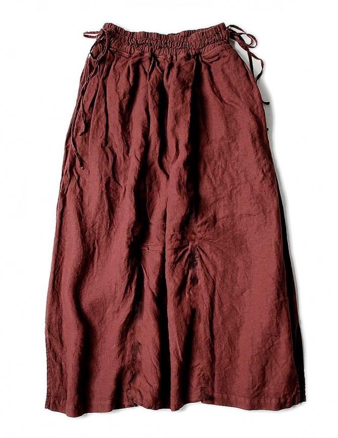 Kapital linen red skirt K1705LP217-PANT-AUBERGINE womens skirts online shopping