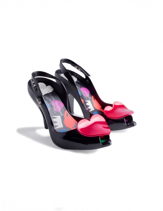 Vivienne Westwood Lady Dragon Anglomania in PVC Nero con Cuore 32265-01003 calzature donna online shopping