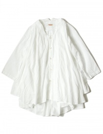 Womens shirts online: White Kapital flared shirt with 3/4 sleeves