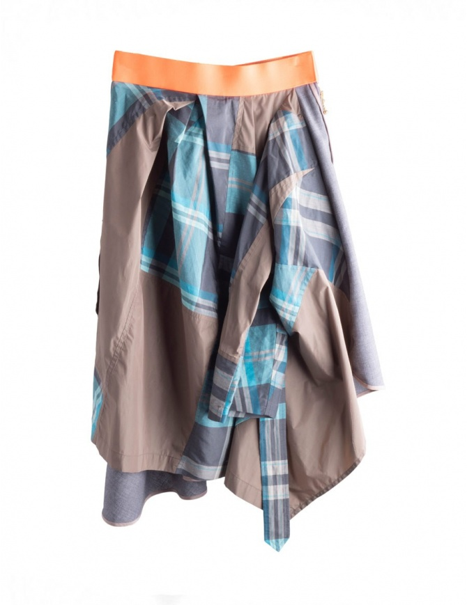 Asymmetrical dark gray Kolor skirt with orange band 18SPL-S01103 DARK GREEN womens skirts online shopping