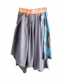 Asymmetrical dark gray Kolor skirt with orange band buy online