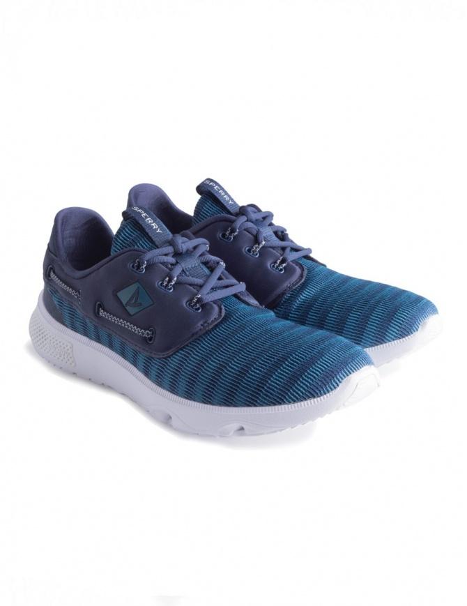 Scarpe Sperry 7 Seas 3-Eye mesh blu navy e suola bianca STS17443 calzature uomo online shopping