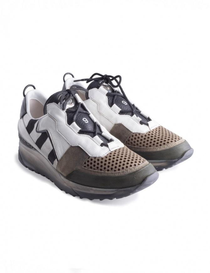 Leather Crown Sneakers Maero 103 MAERO 103 BIANCO KAKI NERO mens shoes online shopping