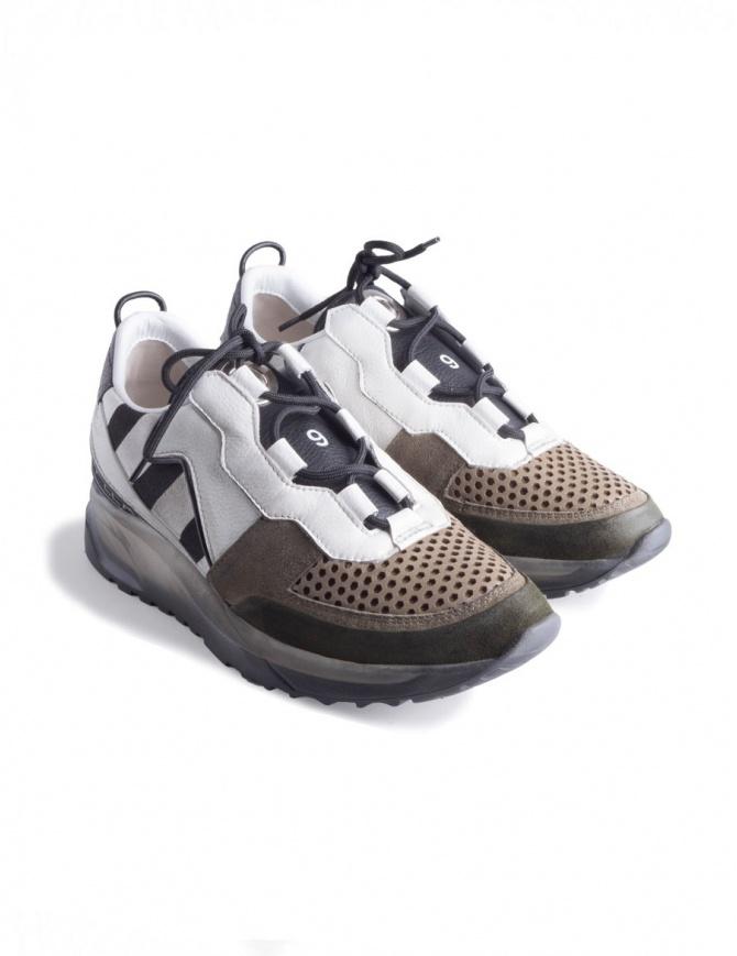 Waero 103 Leather Crown Women's Sneakers WAERO-103-BIANCO+KAKI+NERO womens shoes online shopping