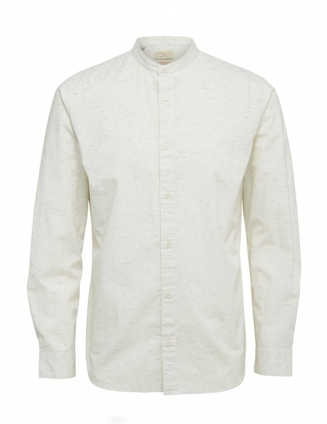Selected Homme stippled ivory shirt 16059955 WHITE mens shirts online shopping