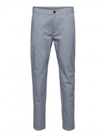 Mens trousers online: Selected Homme trousers with white and dark navy blue weft