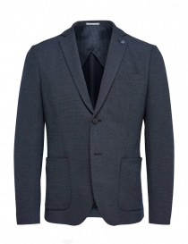Mens suit jackets online: Selected Homme dark blue jacket with brooch